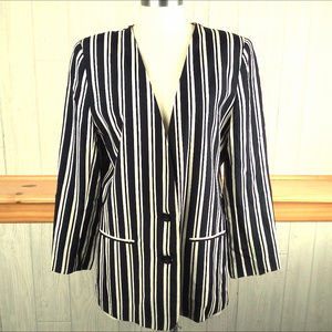 Vintage Alfred Dunner Black White Striped Blazer
